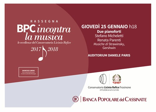 "BPC Incontra Conservatorio  ""Due pianoforti"" S.Micheletti-R Parenti 25-01-2018"